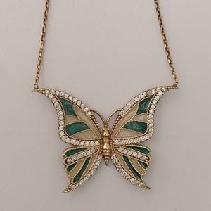 925 Silver green butterfly necklace cz stones